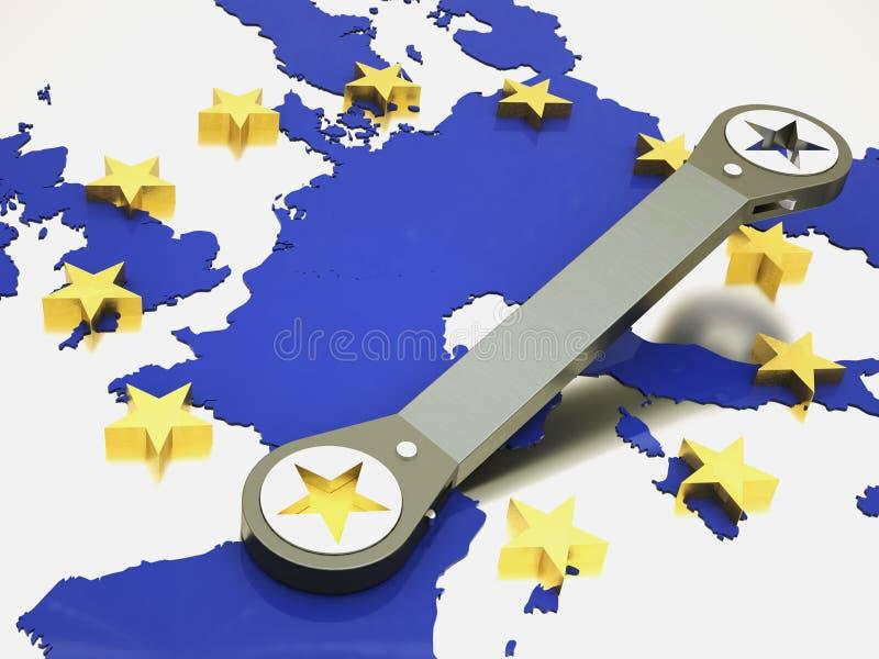 Europäische Gemeinschaft repariert unter Verwendung des Schlüssels stock abbildung