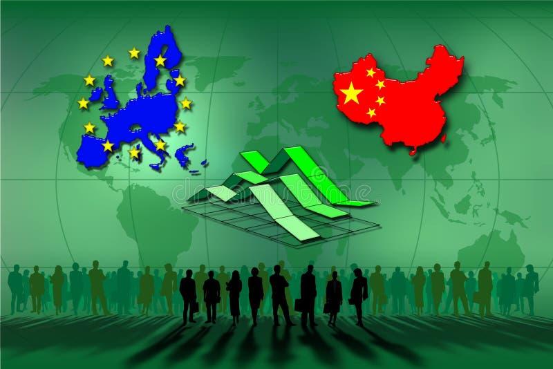 Europäische Gemeinschaft und China stock abbildung