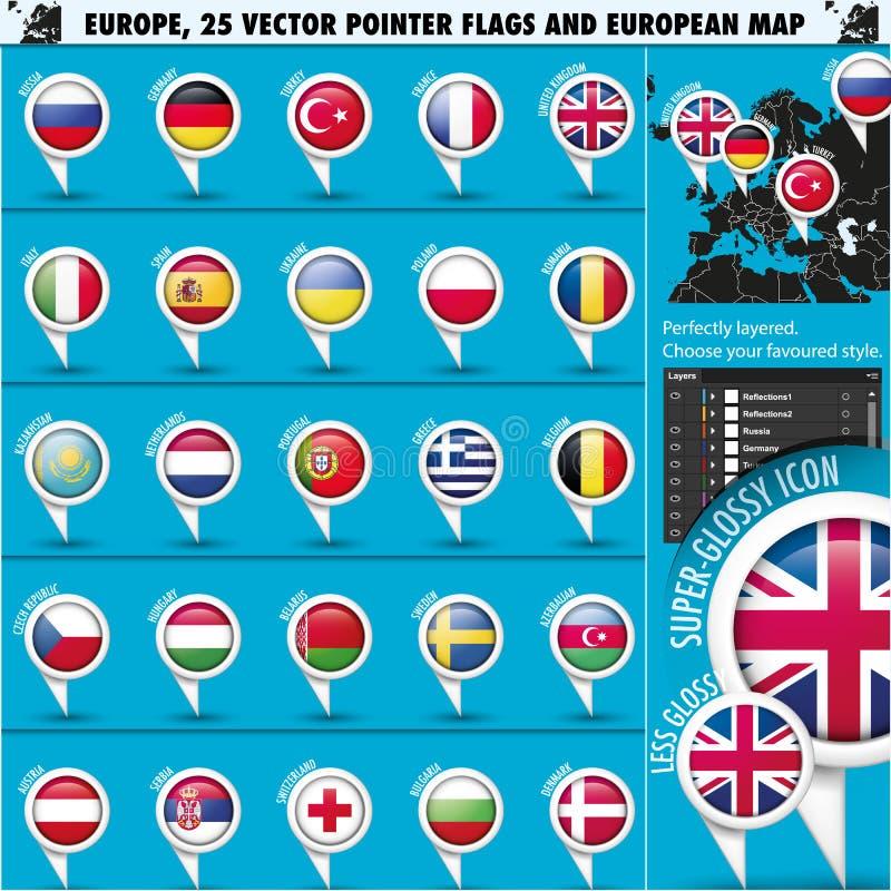 Europäische Ikonen-runde Indikatorflaggen und Karte Set1 lizenzfreie abbildung