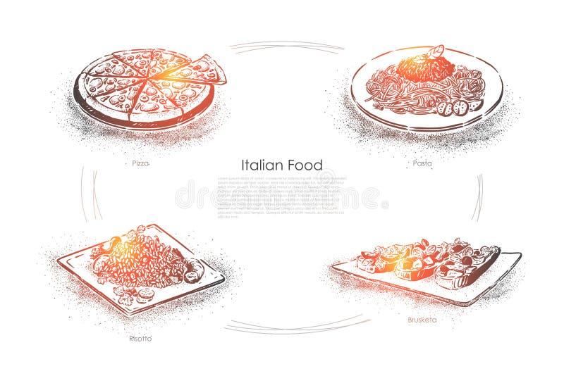 Europäische Küche, geschmackvolle Teller, geschnittene Pizza, Teigwaren, Risotto und bruschetta, traditionelle italienische Nahru lizenzfreie abbildung