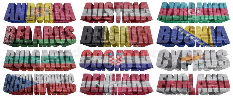 Europäische Länder (von A zu E) Flaggenwörter vektor abbildung