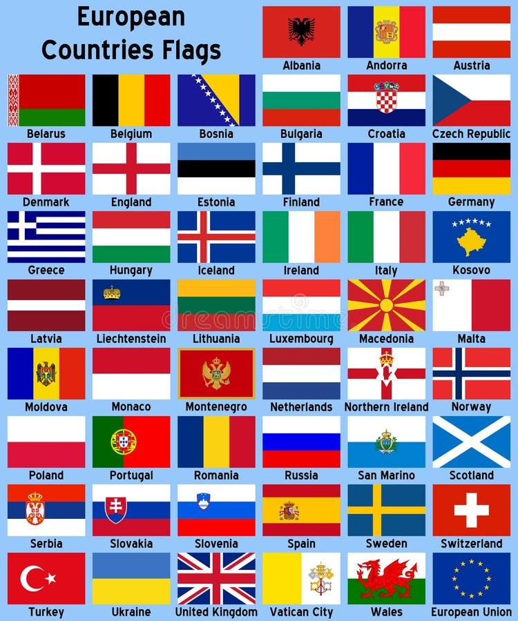 Europäische Land-Markierungsfahnen