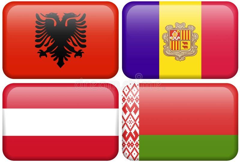 Europäische Markierungsfahnen-Tasten: Albanien, Andorra, Österreich, stock abbildung