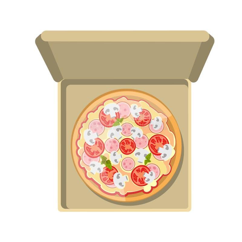 Europäische Pizza im Kasten lizenzfreie abbildung