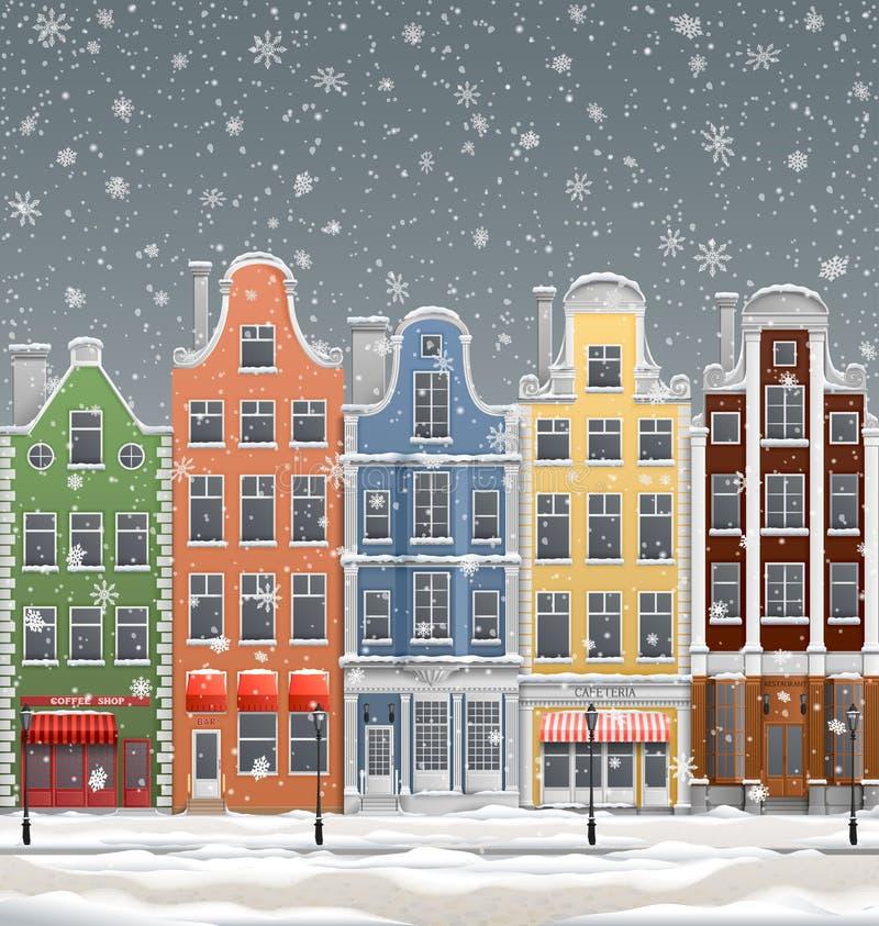 Europäische Stadt am Winter vektor abbildung