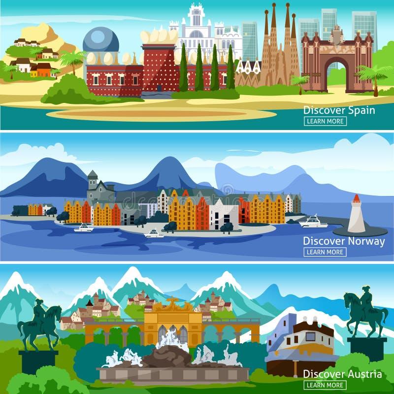 Europäische touristische Fahnen eingestellt stock abbildung