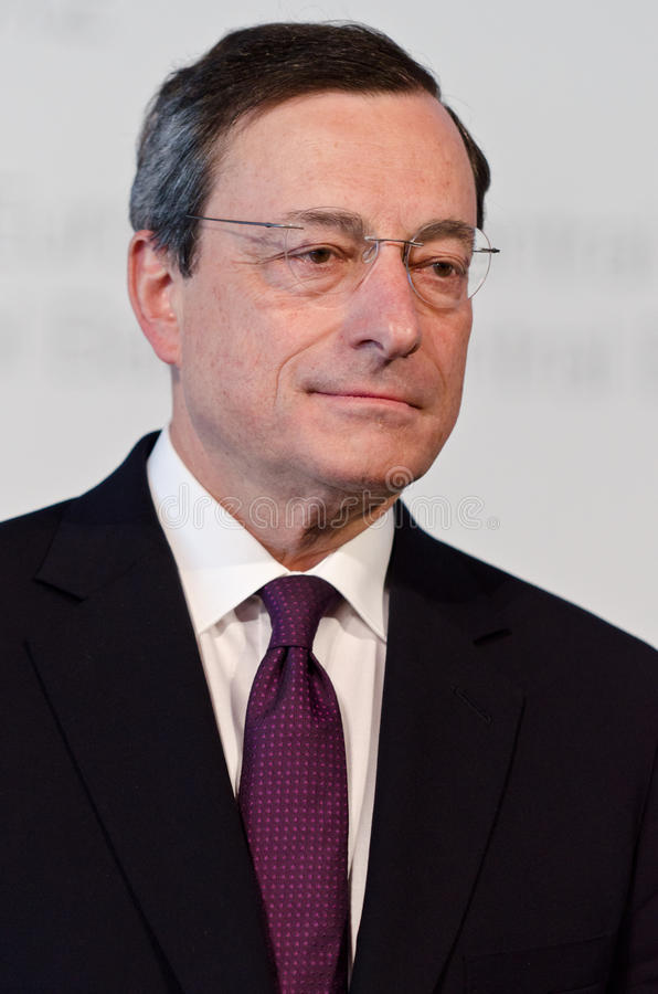 Europäische Zentralbank-Präsident Mario Draghi stockfotos
