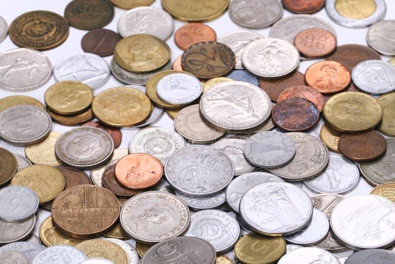 europäischer alter Münzengeldhintergrund stockfoto