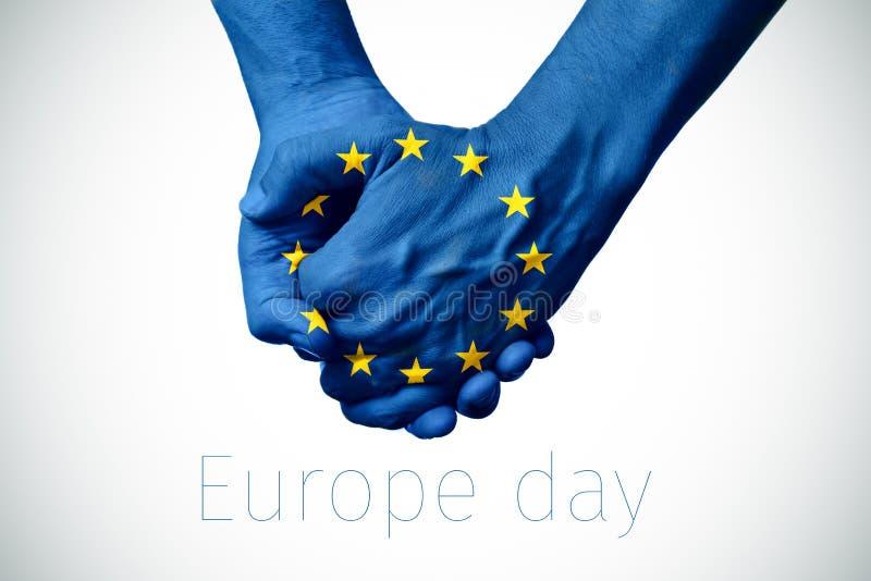 Europäischer Flaggen- und Texteuropa-Tag stockbilder