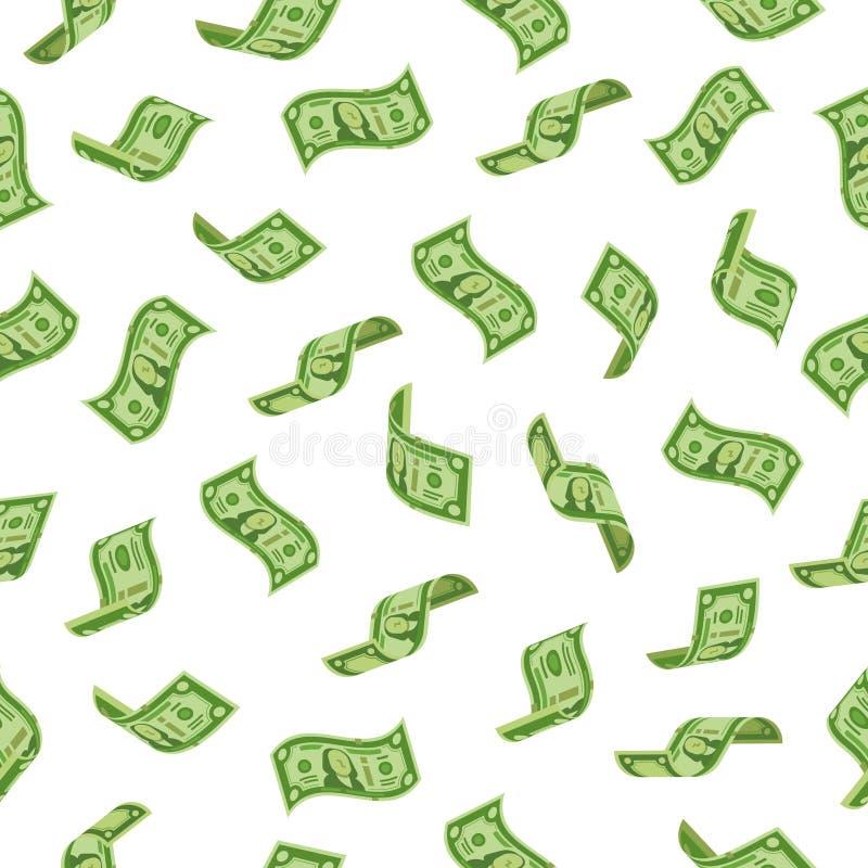 Europäisches Geld, das vom Himmel fällt Fallende Dollarbezeichnungen, Bargeldbanknoten regnend oder fliegen Dollarbanknote Reicht stock abbildung