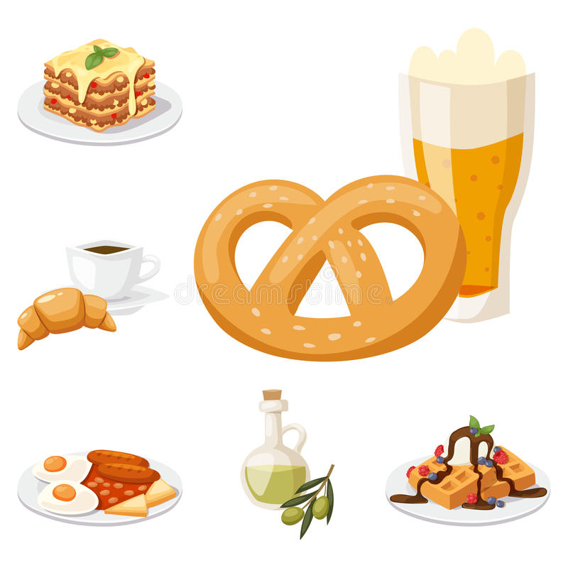 Europäisches geschmackvolles Lebensmittelküche-Abendessenlebensmittel, das köstlichen Elementen flache Vektorillustration zeigt stock abbildung