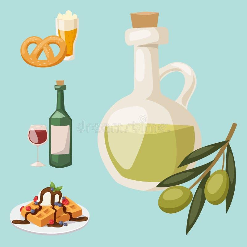Europäisches geschmackvolles Lebensmittelküche-Abendessenlebensmittel, das köstlichen Elementen flache Vektorillustration zeigt lizenzfreie abbildung