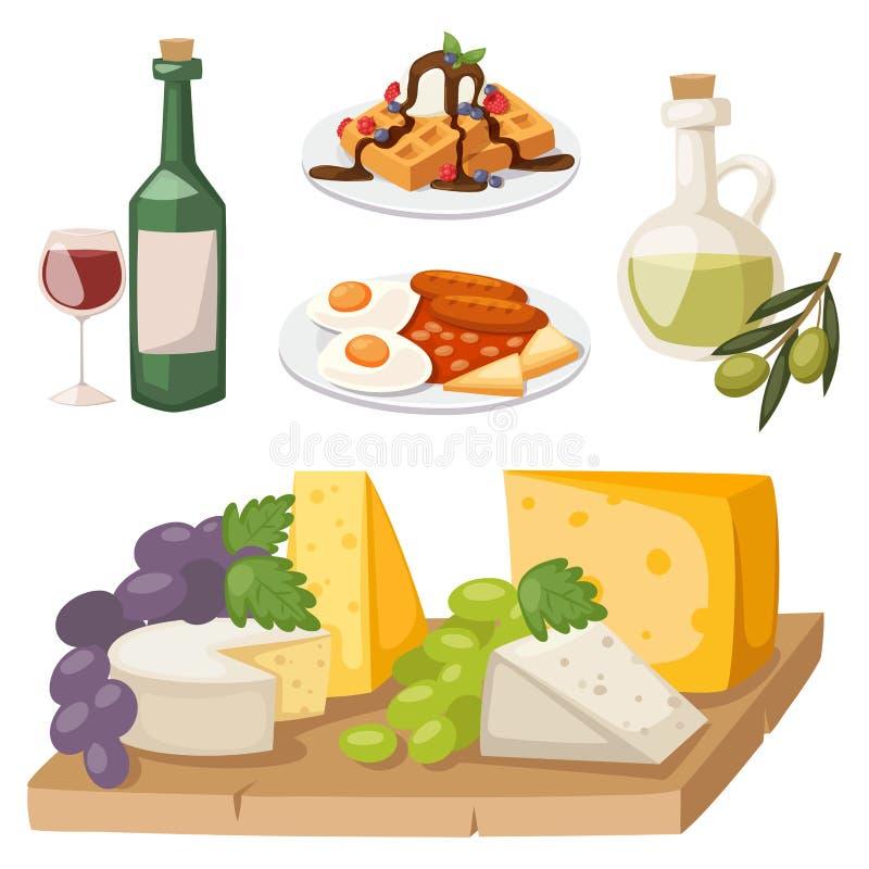 Europäisches geschmackvolles Lebensmittelküche-Abendessenlebensmittel, das köstlichen Elementen flache Vektorillustration zeigt vektor abbildung