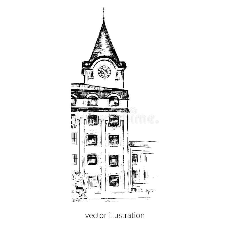 Europäisches Haus des Weinlesevektors lokalisiert, Hand gezeichnetes grafisches Gebäude, das städtische Skizze, Linie Kunstart fü lizenzfreie abbildung