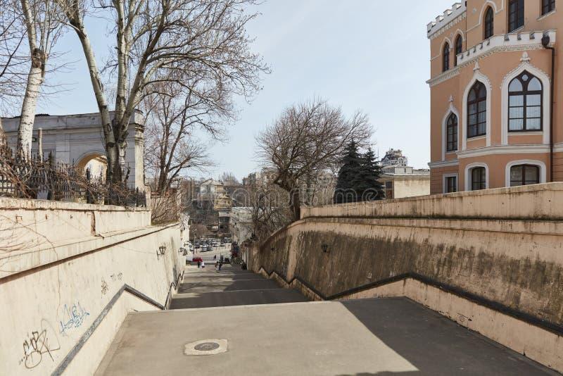 Europäisches historisches Gebäude in der gotischen Art Odessa, Ukraine lizenzfreie stockbilder