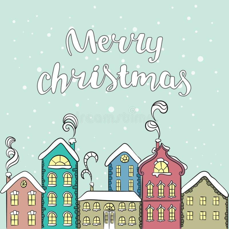 Europäisches mehrfarbiges Haus Sankt Klaus, Himmel, Frost, Beutel Neues Jahr ` s und Weihnachten Vektorillustration für eine Kart stock abbildung