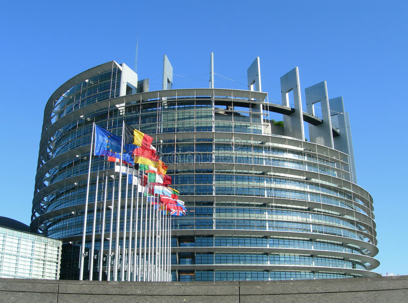 Europäisches Parlament in Straßburg lizenzfreies stockbild