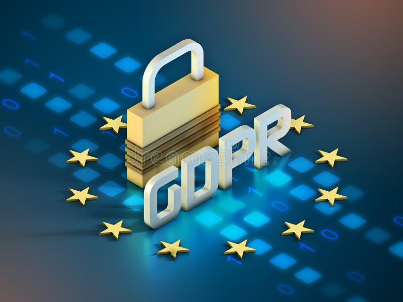 Europé GDPR och lås stock illustrationer