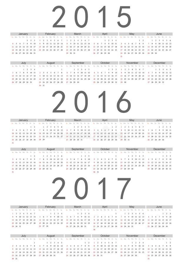 Européen 2015, 2016, calendrier de vecteur de 2017 ans illustration stock