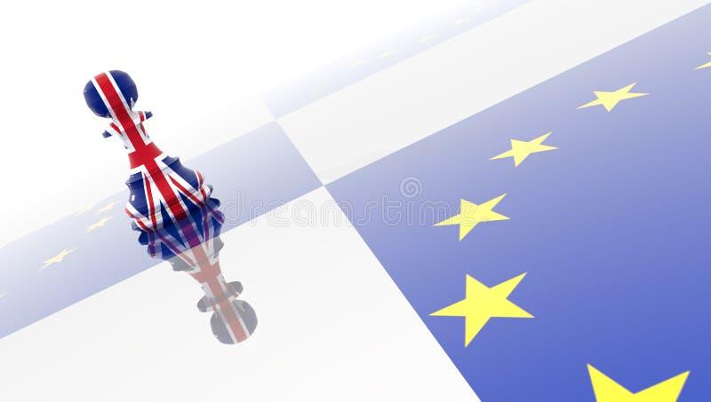 Européen de la Grande-Bretagne d'échecs de gage de Brexit - rendu 3d illustration stock