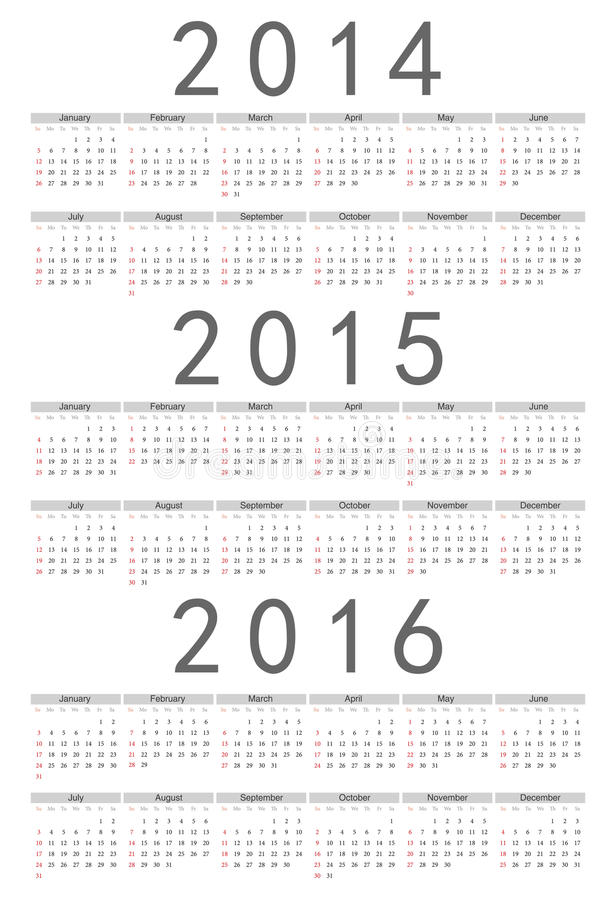 Européen 2014, 2015, calendrier de vecteur de 2016 ans illustration de vecteur