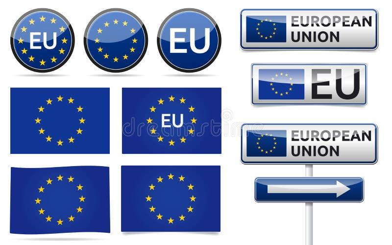EuropéEU sjunker samlingen vektor illustrationer