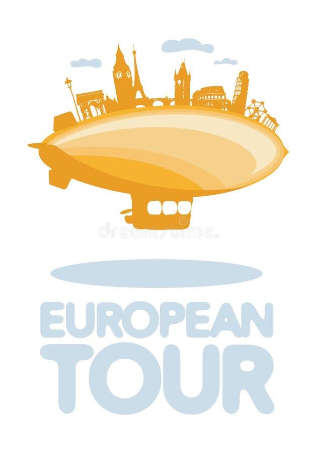 Europén turnerar vektorsymbol. stock illustrationer