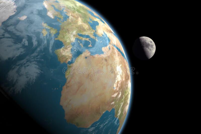 Europa, África y luna, ningunas estrellas stock de ilustración