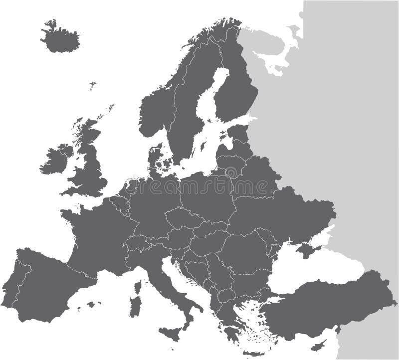 Europa översiktsvektor royaltyfri illustrationer