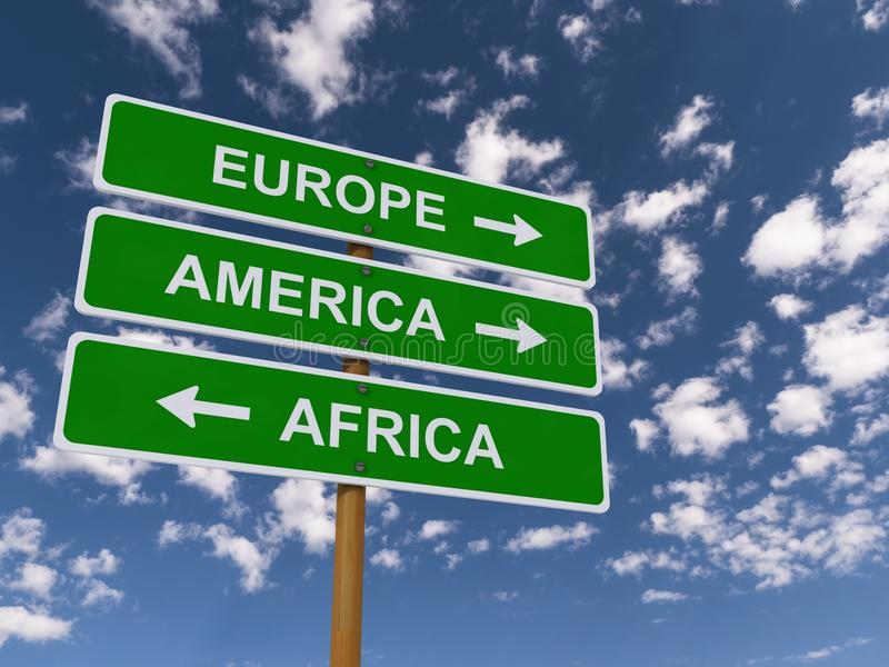 Europa, Ameryka, Afryka fotografia stock