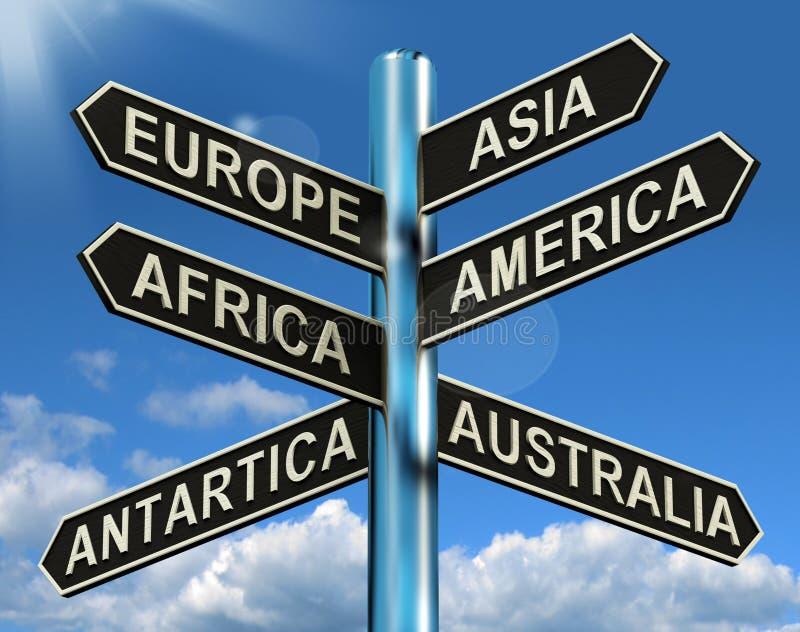 Europa Azië Amerika Afrika Antartica Australië voorziet het Tonen van wegwijzers royalty-vrije illustratie