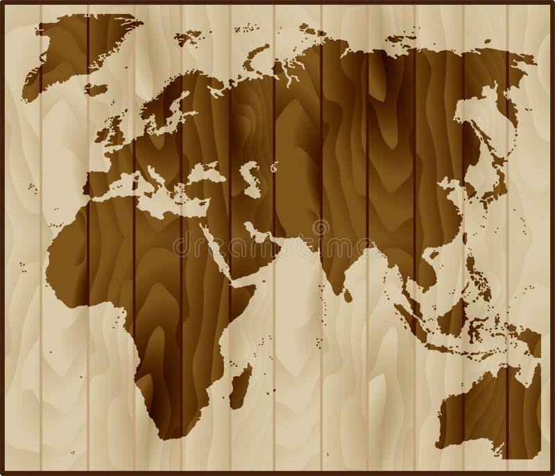 Europa, Azja i Afryka mapa na drewnianym tle, ilustracji