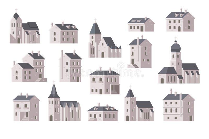Europa budynek ustawiający płaski projekt royalty ilustracja