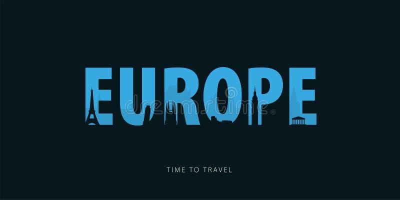 europa Bunner do curso com as silhuetas das vistas Hora de viajar Ilustração do vetor ilustração do vetor
