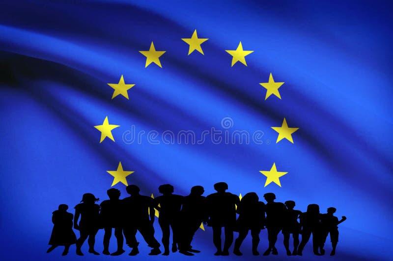Europa chorągwiana wielokulturowa grupa młodzi ludzie integracji różnorodności odizolowywającej ilustracja wektor