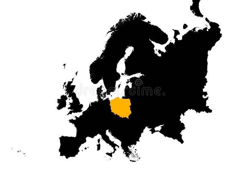 Europa com mapa de Poland ilustração do vetor