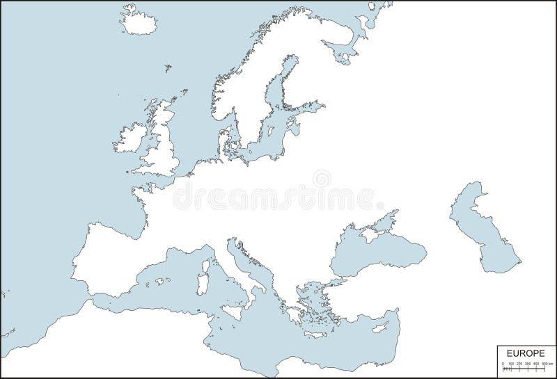 Europa - contourkaart stock illustratie