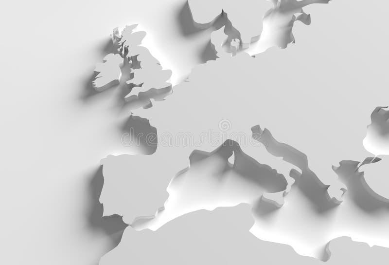 Europa 3D översiktsillustration vektor illustrationer