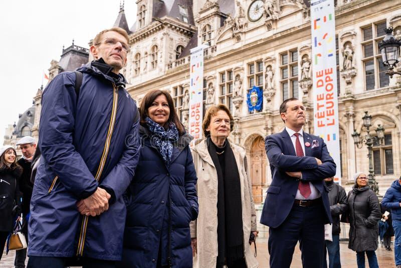 Europa Dag 2019 voor het Stadhuis van Parijs stock fotografie