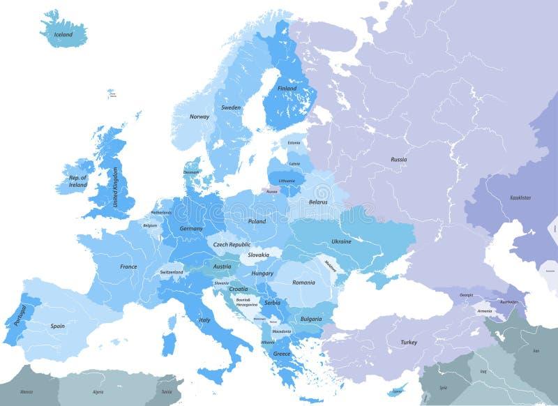 Europa Detailleerde Hoog Vector Politieke Kaart Met De Namen Van