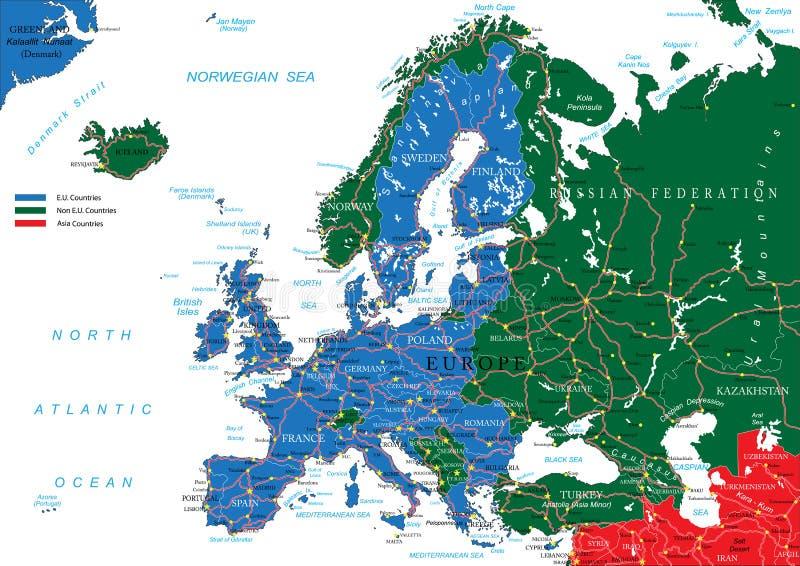 Europa drogowa mapa ilustracja wektor