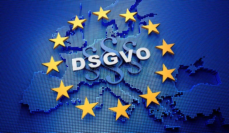 Europa DSGVO błękitny tło - 3D ilustracja royalty ilustracja
