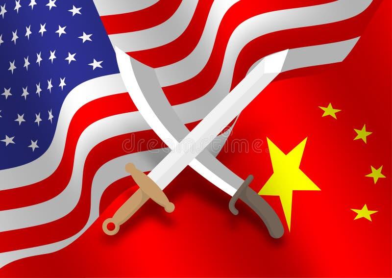 Europa e cruz asiática da arma da espada fundo na bandeira de América e de China, guerra comercial e ilustração do projeto de con ilustração royalty free
