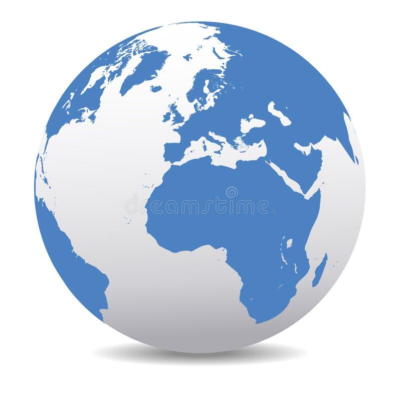 Europa e l'Africa, mondo globale del pianeta della mappa della terra illustrazione di stock