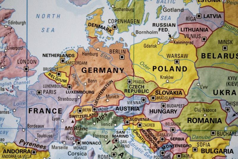 Europa en un mapa imágenes de archivo libres de regalías
