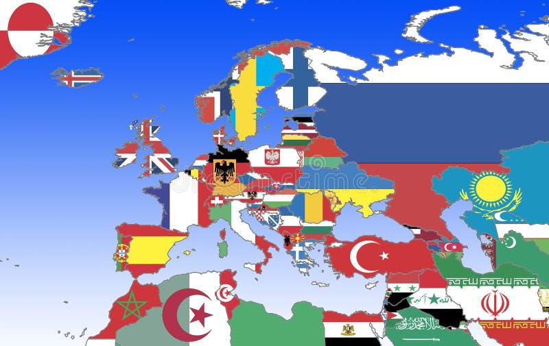 Europa - esboço e bandeiras ilustração royalty free