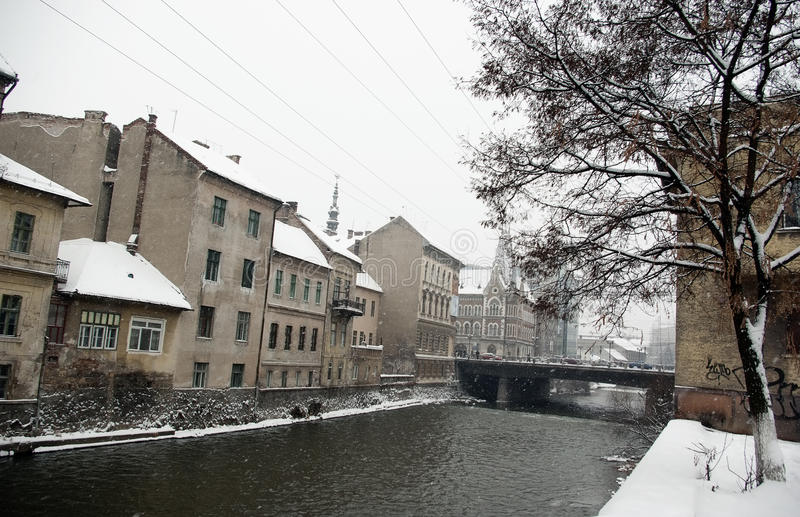 Europa extrem vinter royaltyfria bilder