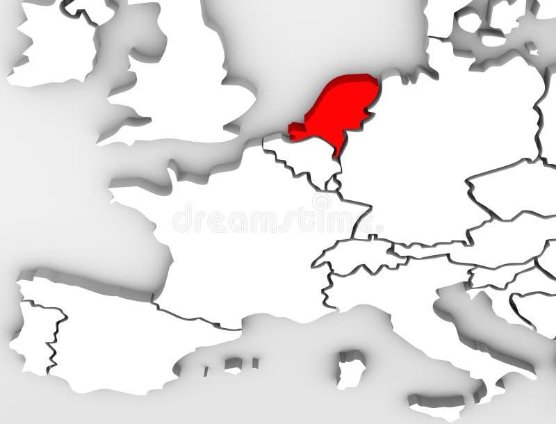 Europa för översikt för Netherland landsabstrakt begrepp 3D kontinent vektor illustrationer