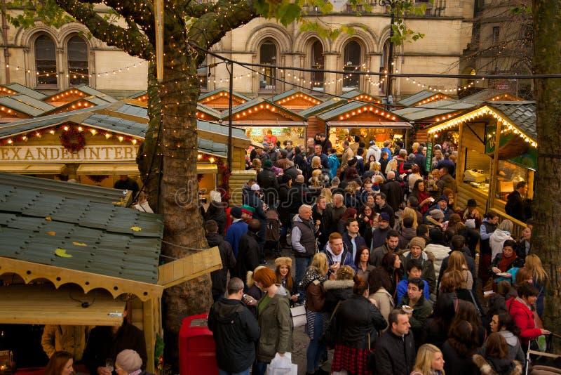 Europa Förenade kungariket, England, Lancashire, Manchester, Albert Square, julmarknad arkivfoto