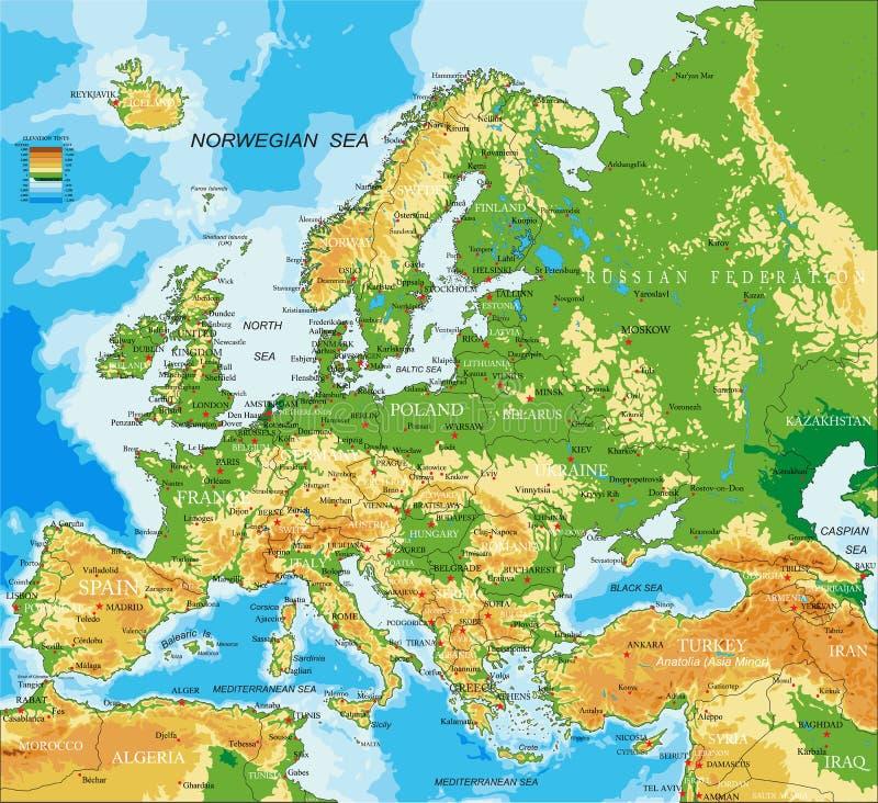 Europa - fizyczna mapa ilustracji